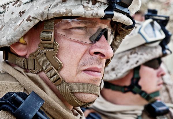 Worried soldier in battlefield